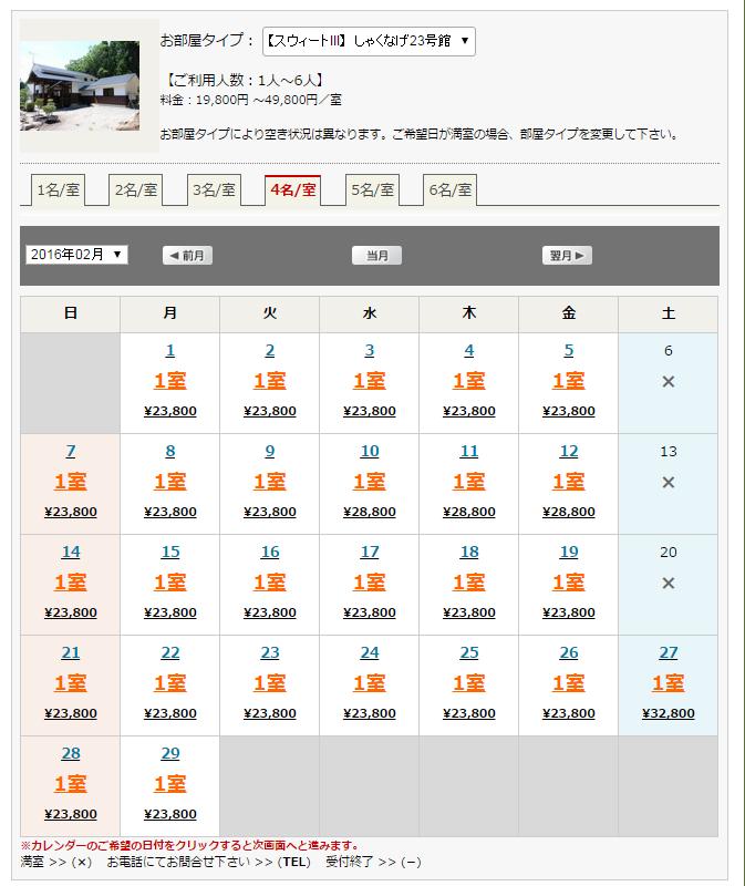 猪苗代コテージが格安時期のオフシーズン価格表