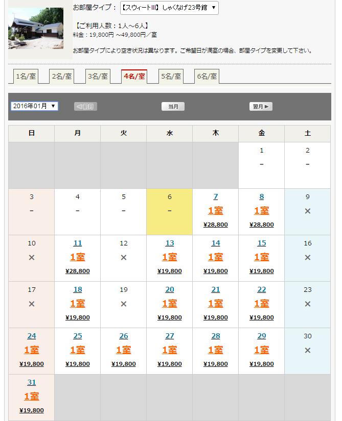 猪苗代コテージのオフシーズンの格安価格表